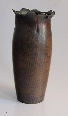 """Roycroft Tall Hand Hammered Copper Vase with """"Curly Top"""""""