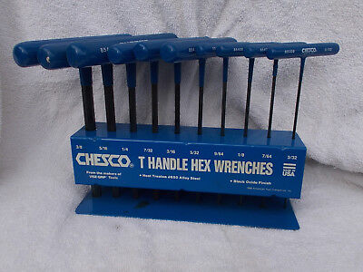 10 Piece Allen Wrench Hex Key Set, Chesco Heavy Duty, Long T-handle, SAE Sizes
