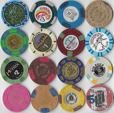 Nice 16 Casino Chip Lot-MISC. MIXED LOT CALIFORNIA CASINO OR CARDROOM CHIPS-Lot2
