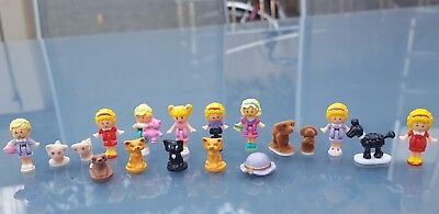 Vintage Polly Pocket 18 Figures, Animals and Items VGC