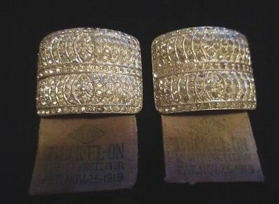 Vintage Art Deco Shoe Buckle Shoe Clips Dated 1919, Antique Rhinestones