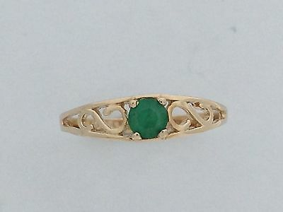 Natural Emerald Baby Ring Solid 10kt Yellow Gold