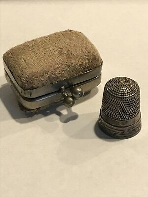 Suede Thimble Holder With Sterling Silver Thimble