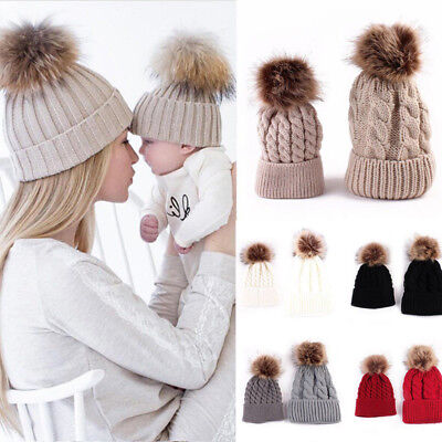 😍😍Mum Mom And Baby Child Matching Pair Knited Cotton Wooly Pon Ski Winter Hat