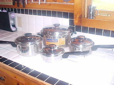 8 Pc Duncan Hines 3 Ply Stainless Steel Cookware Set Dutch Oven W/ Sticker