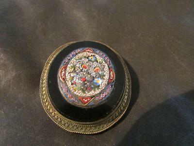 Beautiful Victorian Quality Onyx Micro Mosaic Roses Brooch
