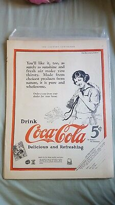 Vintage Coca Cola 1923 full print advertising from The Country Gentleman 2 pages
