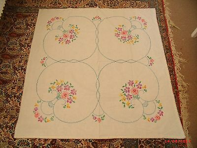 """vintage cream linen hand embroidered cross stitch  table cloth 41x40"""""""