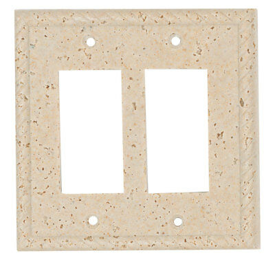 Resin Travertine Faux Stone Switch Plate Cover - Double Rocker GFCI Rope Light