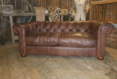 brown leather 2/3 seater chesterfield sofa DELIVERY AVAILABLE