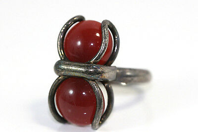 D239 Modernist Carnelian Sterling 9g 925 Ring size 7