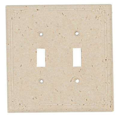 Resin Travertine Faux Stone Switch Plate Cover - Double Toggle Geometric Light
