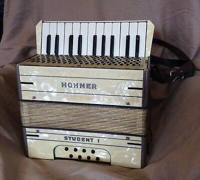 Vintage 1930s Hohner 'Student I' Piano Accordian, Ideal For Folk Music