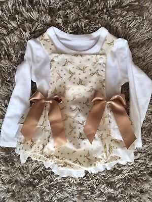 Romany/Spanish Christmas Reindeer Romper age 0-12 month,1,2,3,4,5,6,7,8