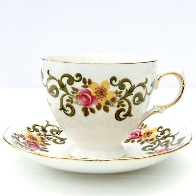 Vintage Ridgway Queen Anne 8340 Bone China Floral Tea Cup Saucer Duo