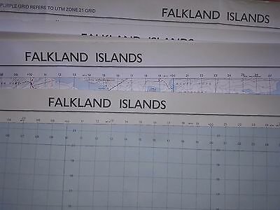 EIGHT Military Maps of Falkland Islands (1982 to 1991) - large, good condition