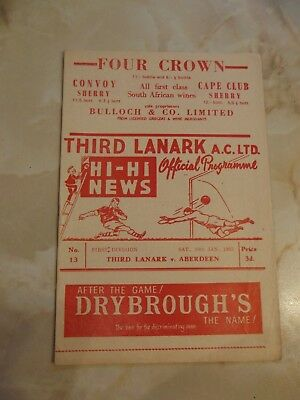 THIRD LANARK v ABERDEEN SCOTTISH LEAGUE 1962-63 SEASON