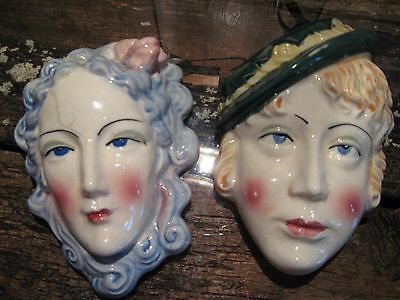 Vintage Lady Head Wall Pocket Set - Japan - Head Vase
