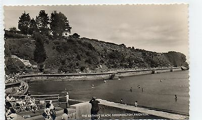 Goodrington/ Paignton postcard. RP. The Bathing Beach