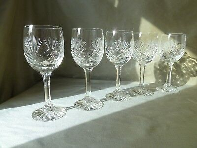 5 Zawiercie Crystal Wine Glasses, not signed VGC