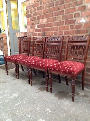 Four Edwardian Dining Chairs.