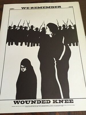 Vintage Akwesasne Notes Native American WOUNDED KNEE protest POSTER Mowhawk Nati