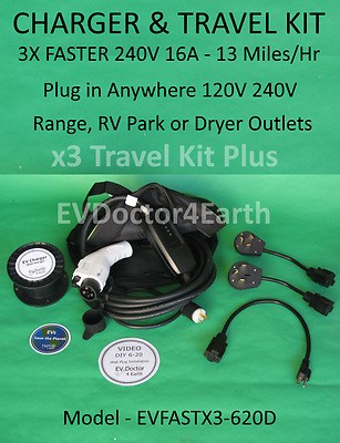 Level 2 EVSE Deluxe Kit 16A 240V Electric Vehicle Car Charger 6-20P + 3 adapters