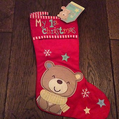 BNWT New Red My 1st Christmas Stocking – Baby's First Xmas - Teddy Bear