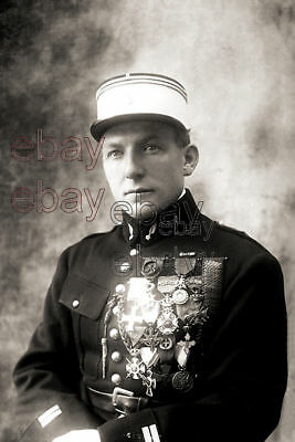 WW1 French Ace Charles Nungesser Medals Portrait WWI