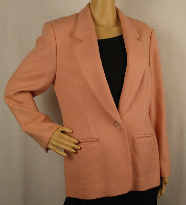 Vtg Women Blazer Jacket Pendleton Sz 10P Petite Tailored Lined Peach Virgin Wool