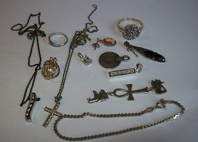 ASSORTED LOT OF STERLING SILVER  RINGS BRACELET PENDANTS CHAINS  23g  NOT SCRAP