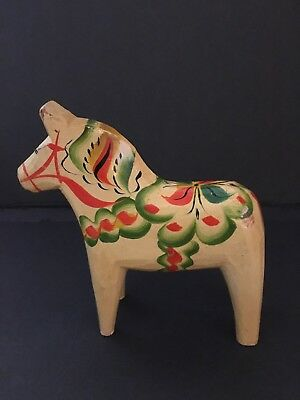 "Swedish Dala Horse Yellow Nils Olsson Sweden 6"" by 6""  Vintage Folk Art"