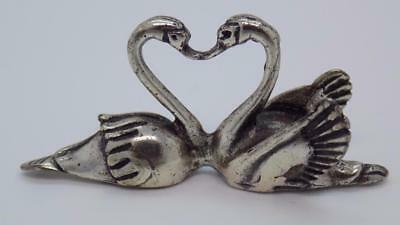 Vintage Solid Silver Italian Made Swans Heart Miniature, Figurine, Stamped