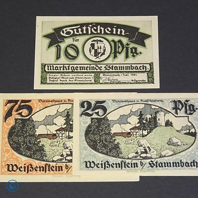 3 x Notgeld Stammbach , german emergency money , M/G 1252.1 , kfr/unc