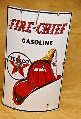 Vintage 1941 Fire-Chief Gasoline Texaco Curved Porcelain Pump Sign Fire Fighter