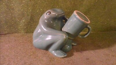 Ceramic Frog Figurine with Shot Glass Cup Covering Erect Penis