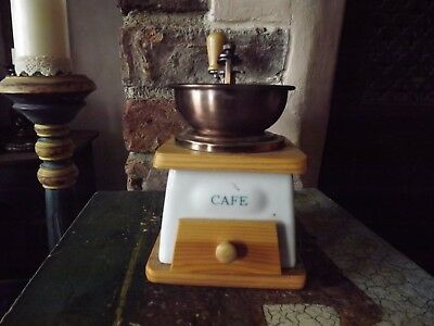 Vintage Wood and Ceramic French Coffee Grinder