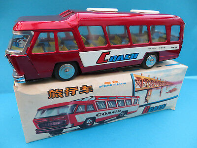 Vintage China MF 184 Coach with friction tin toy made in Red China
