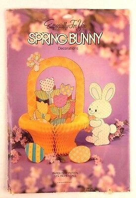 Spring Bunny American Greetings Honeycomb Basket Vtg Table Decoration Unused
