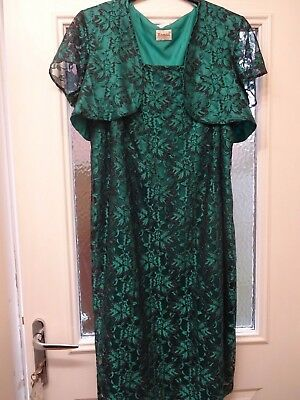 Roman Green Evening Dress And Jacket Size 22