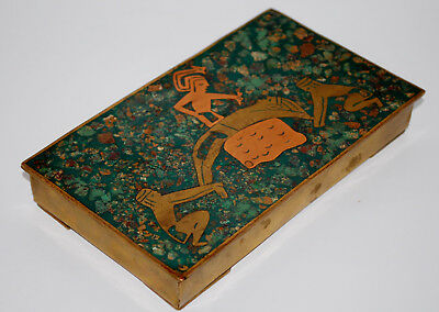 Vintage Mexican Box Brass Copper Turquoise Inlay Aztec Human Sacrifice Scene
