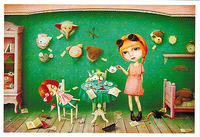 LITTLE GIRL AND HER TOYS... SO MANY... Modern Russian postcard