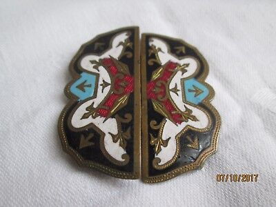 Vintage Enamel Belt Clasp Buckle - Possibly Victorian?