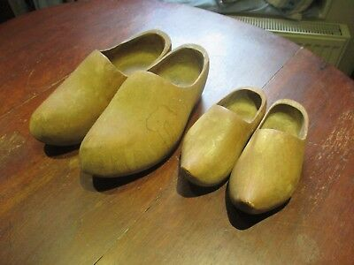 Vintage wooden clogs (2 pairs large & small)