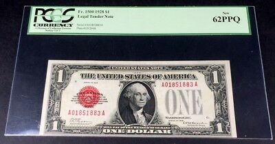 1928 $1 Red Seal Fr 1500 Pcgs 62 Ppq Funnyback Legal Tender Note Us Currency