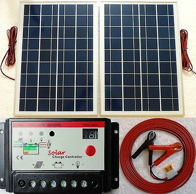 50w (2x25w) Solar Panel + 10A 12V 24v charger controller +10m cable fuse & clips