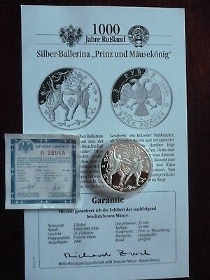 Russland-3 Rubel 1996-PP-Proof Silber-Russische Ballett-Nussknacker