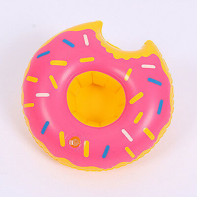 Pinkdonuts Party Boat Donut Swimming Pool Inflatable Drink Can Beer Holder Q25