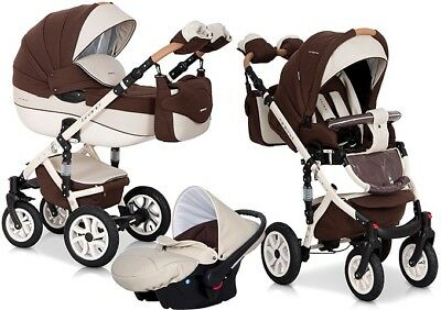 RIKO BRANO ECCO CHOCOLATE PRAM 3in1 CARRYCOT + PUSH CHAIR + CAR SEAT