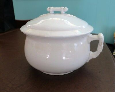Antique Glasgow Ironstone White Covered Chamber or Slop Pot or Thunder Mug